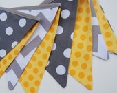 MODERN GRAY, YELLOW Cloth Banner Bunting -- Boy's Baby Shower, Nursery, Playroom Decor, Baby Nursery -- yellow, gray, white fabric flags