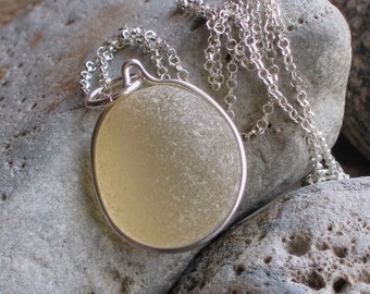 Natural Sea Glass Sterling Silver Large Pendant Necklace Rare Soft Yellow (500)
