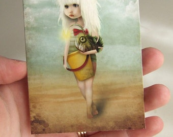 "ACEO/ATC ""My Fishy Friend"" Artists Trading Card Premium Fine Art Mini Print 2.5x3.5 - Little Blonde Girl with Pet Angler Fish"