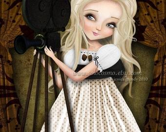 "Fine Art Print ""Simona and Her Dreams II"" 11x17 or 13x19 LARGE Premium Giclee Print of Original Cute Blonde Girl with Retro Film Camera"