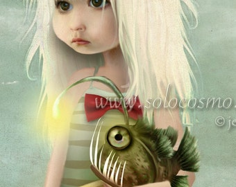 "Angler Fish and Little Girl Beach Print ""My Fishy Friend"" Fine Art 11x17 OR 13x19 Print of Digital Artwork - Girl and Sea Monster Art"