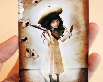 The Little Sharpshooter ACEO/ATC Premium Fine Art Mini Print Artist Trading Card 2.5x3.5