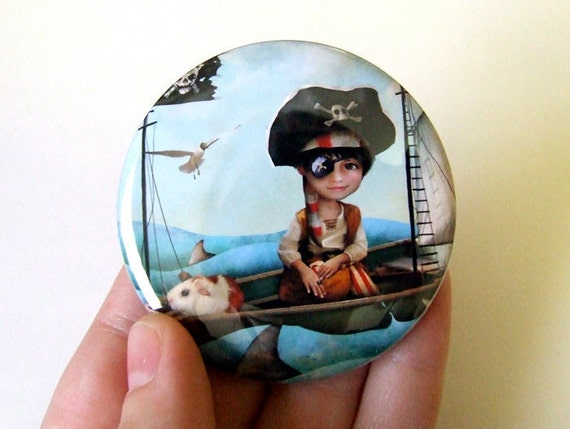 "Pocket Mirror ""Diego"" 2 1/4"" Round Compact Mirror  - Little Pirate Boy With Pet Guinea Pig"