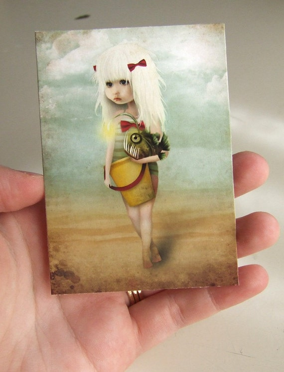 """ACEO/ATC """"My Fishy Friend"""" Artists Trading Card Premium Fine Art Mini Print 2.5x3.5 - Little Blonde Girl with Pet Angler Fish"""