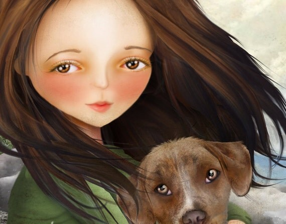 Keli and Olive 5x7 Small Giclee Premium Fine Art Print by Artist Jessica Grundy
