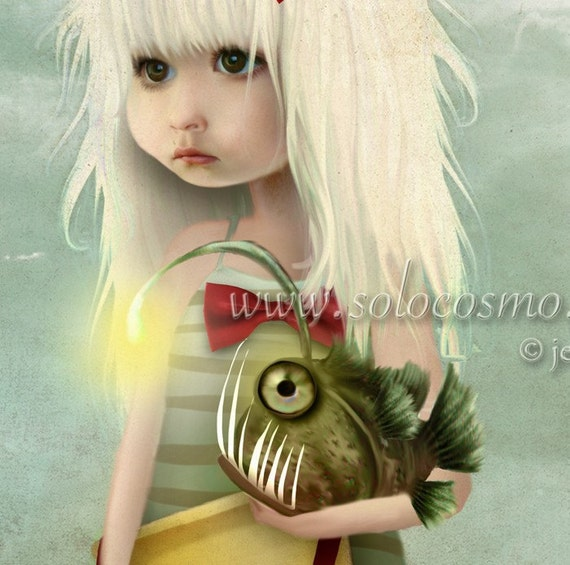 "Angler Fish and Little Girl Beach Print ""My Fishy Friend"" Fine Art 8.5x11 8x10 Print of Original Digital Artwork - Girl and Sea Monster Art"