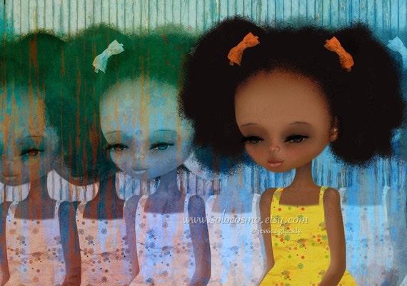 "African American Little Girl - 8x10 or 8.5x11 Medium Sized  Fine Art Print - ""Deja-Vu""  - Yellow and Blue - Giclee Print"
