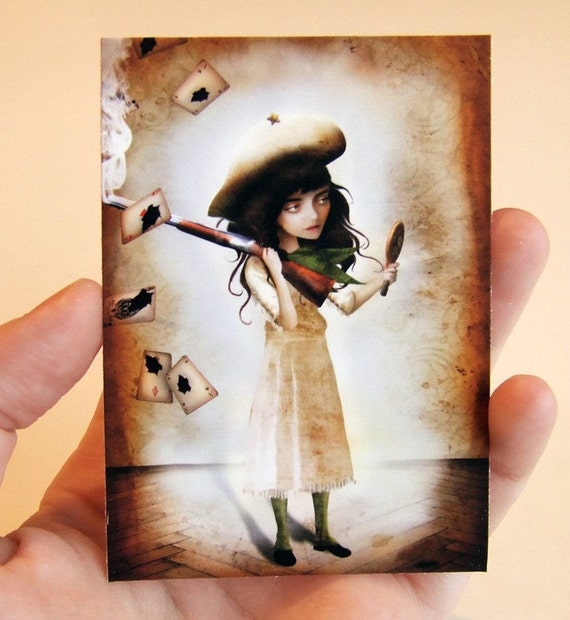 The Little Sharpshooter ACEO/ATC Premium Fine Art Mini Print Artist Trading Card 2.5x3.5