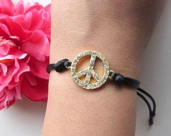 peace sign charm with black silk cord - arm candy - friendship bracelet - rhinestone bracelet - hippie jewelry - bohemian jewelry - indie