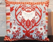 Deer Antler Throw Pillow Cover - 16 inch square - modern patchwork - Modern Rustic Home Decor -  Red and Aqua Modern Fabric