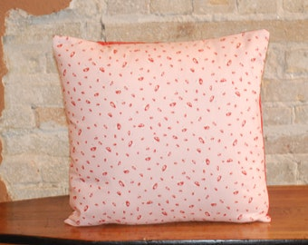 Pink & Red mushrooms Cushion Throw Pillow Cover - 18 inch - Modern Girls Kids Room Nursery Decor - Whimsical- FREE SHIPPING