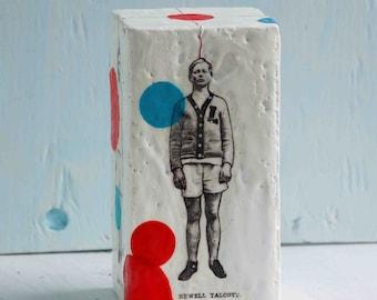 BOYFRIEND Art Block Painting Original Encaustic Mixed Media Doll Vintage Boy Sculpture