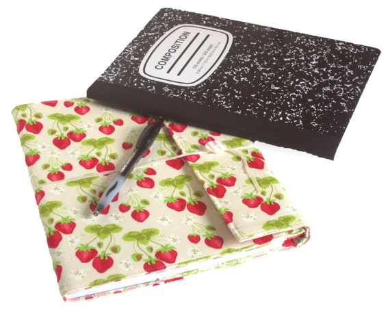 Strawberry Fields Reusable Fabric Covered Composition Book Cover - with pen and composition book - fabric covered notebook, journal