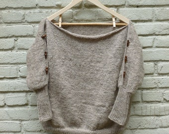 Baggy Wool Sweater with Boat Neck and Threequater Sleeves