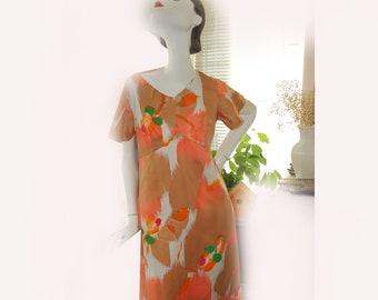 Long Dress, Hawaiian Vintage 60s 70s Psychedelic Bold Print Bell Flutter Butterfly Sleeves, beige long dress, feminine hippy dress, 60s, 70s