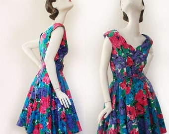 Vintage pin up cotton dress with crinoline by Algo Ettes, party swing rockabilly floral short dress, 50s, 60s, Bust 32, full skirt, Sale