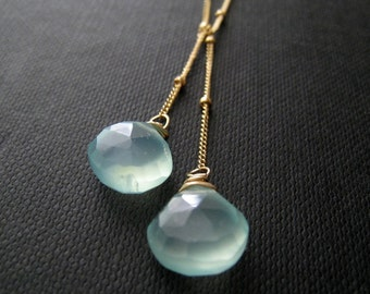 Aqua necklace, Aqua blue Lariat Necklace, bridesmaid jewelry, lariat style bridesmaid necklace, customized gemstone necklace, wedding party