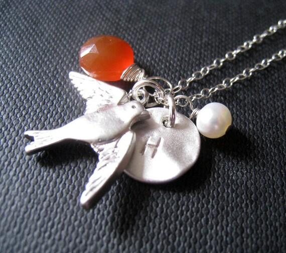 bird initial necklace, personalized jewelry, silver sparrow charm,  birthstone jewelry, organic disc, woodlands