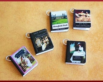 Set of Five Miniature Book Charms - Classics Theme