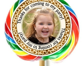Leopard Print Photo Birthday Labels, Lollipop Stickers, Extra Large Personalized Stickers, Fit on WHIRLY LOLLIPOPS