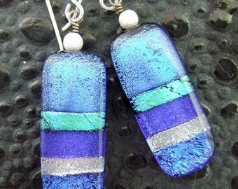 Blue Ribbon Dichroic Earrings, Fused Glass Jewelry Handmade in North Carolina
