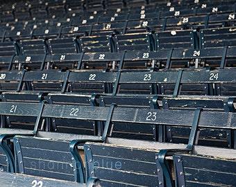 baseball photograph / grandstand, wooden seat, blue seat, boston, baseball / grandstand / 8x10 fine art photo
