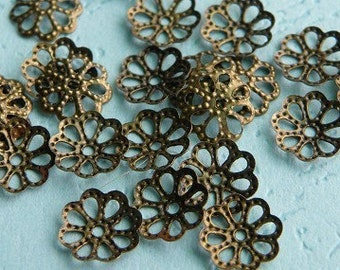 250pcs 7mm Bronze Filigree Beads Caps h39