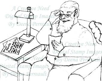 INSTANT DOWNLOAD Digital Art Stamp Image Santa's Letters
