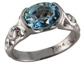 A Majestic Aquamarine and White Gold and Diamond Ring