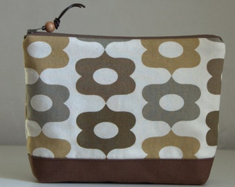 Brown Calliope Large Padded Zipper Pouch Gadget Case Cosmetics Bag - READY TO SHIP