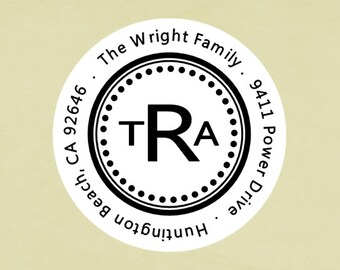 Return address labels, stickers, tags, envelope seals, round--monogram