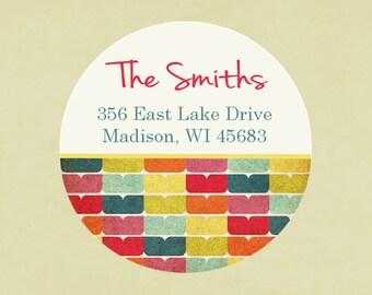Return address labels, stickers, tags, envelope seals, round--Rainbow Petal