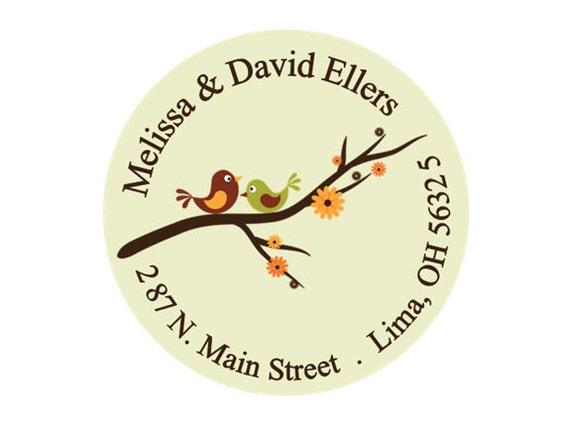 Return address labels, stickers, tags, envelope seals, round--Love birds