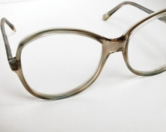 Vintage Transparent Beige Italian Eighties Glasses Retro Eyewear Eyeglass - Round Frames Glasses - Seventies Fashion Accessory