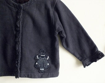 Vintage navy blue cardigan jacket, French design Bécassine cardigan, Character clothing, School baby top, Baby clothing, Blue baby sweater