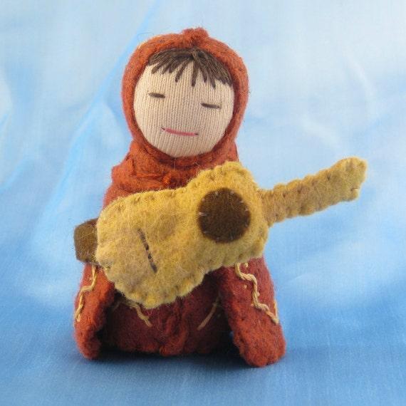 Guitar Player Doll in Reddish Brown - Waldorf inspired