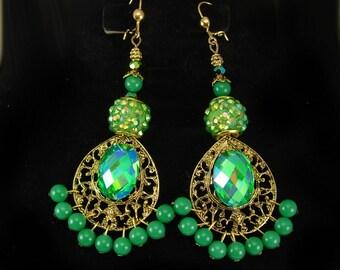 Enchanting Bohemian emerald green chandelier earrings Gypsy queen of rhinestones