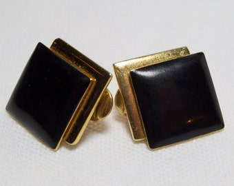 MONET Black and Gold Double Square Earrings
