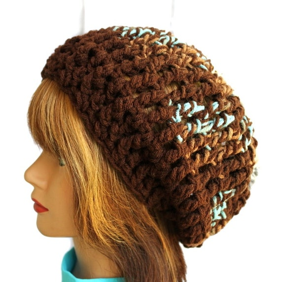 Browns and Teals Upcycled Boho Slouchy Beanie