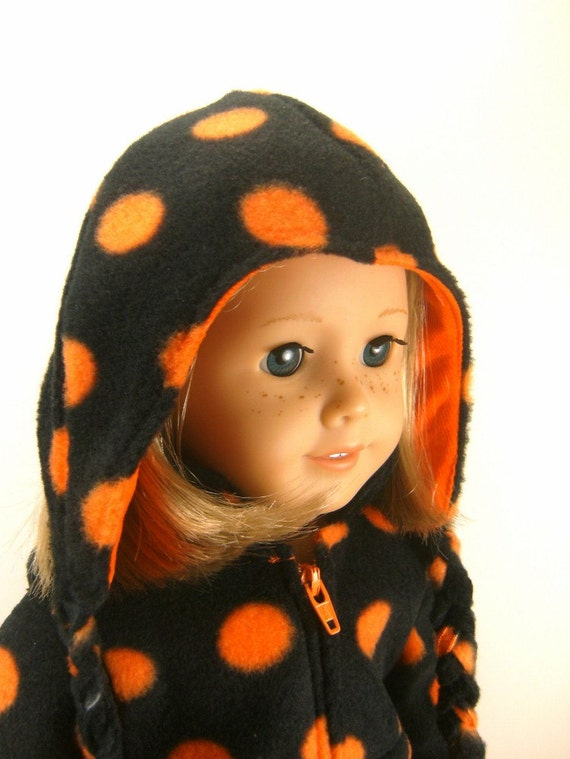 Made To Fit American Girl 18 Inch Dolls  Zip Pullover,  Pants, Hat Halloween Orange and Black