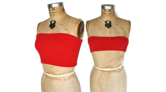 Tube Top / Red Cropped Bandeau Top / S-M