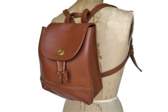 Brown Leather Coach  Backpack Purse