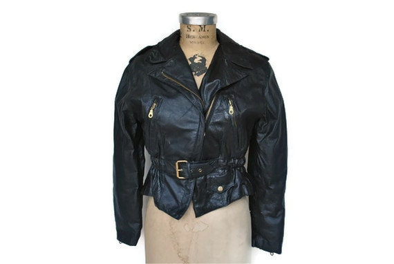 Vintage Leather Motorcycle Jacket / small