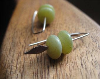 celery green earrings. small earings. natural stone jewelry.