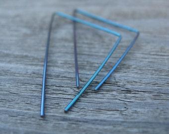triangle hoops. turquoise earrings. geometric jewelry. hypoallergenic. splurge