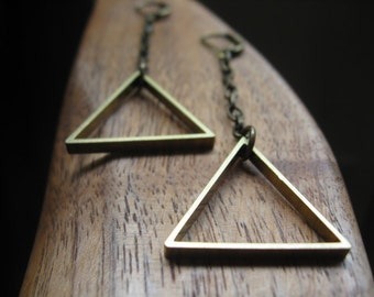 long triangle earrings in antique gold. yellow brass jewelry. splurge.