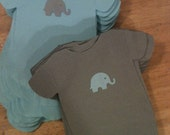 Any color Baby shower shirt or bib shaped NAPKINS.  Each with adorable baby elephant. Pack of 45.