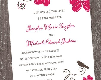 Hot Pink Floral Invitations For Any Occasion