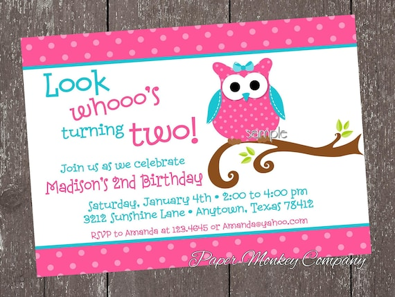 Pink and teal owl birthday invitations by paper monkey company il570xn filmwisefo