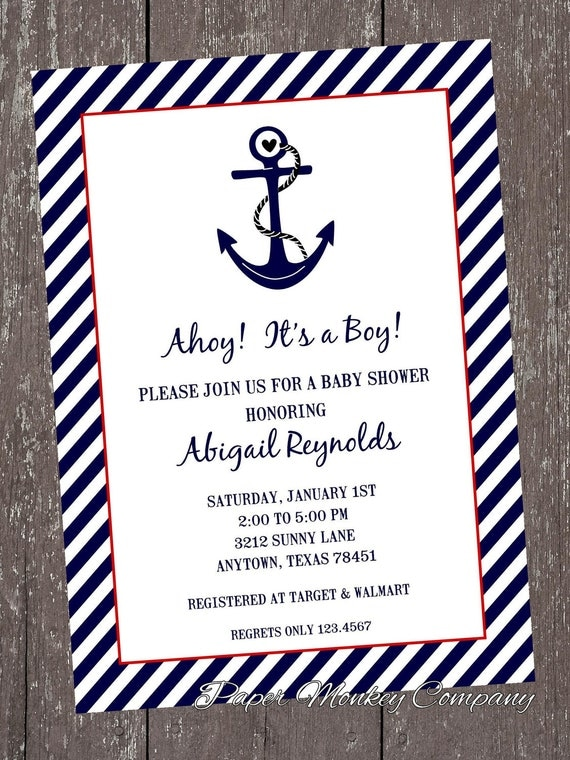 nautical baby shower invitations each with by